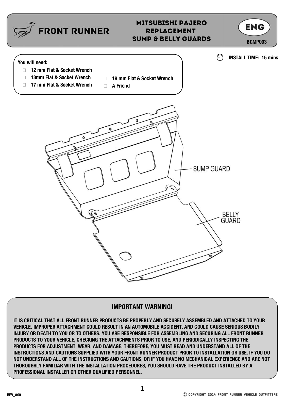 Installation instructions for BGMP003