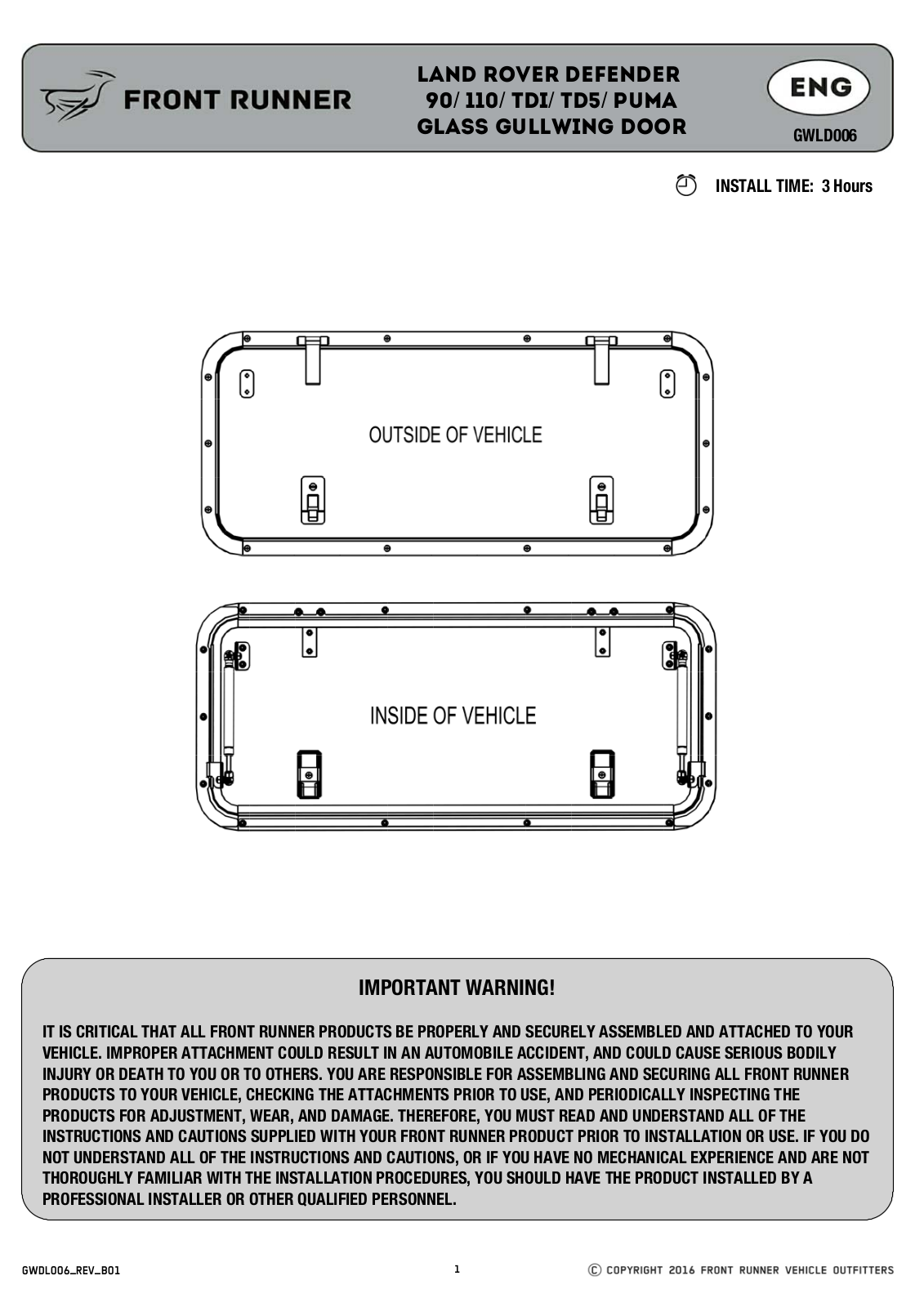 Installation instructions for GWLD006