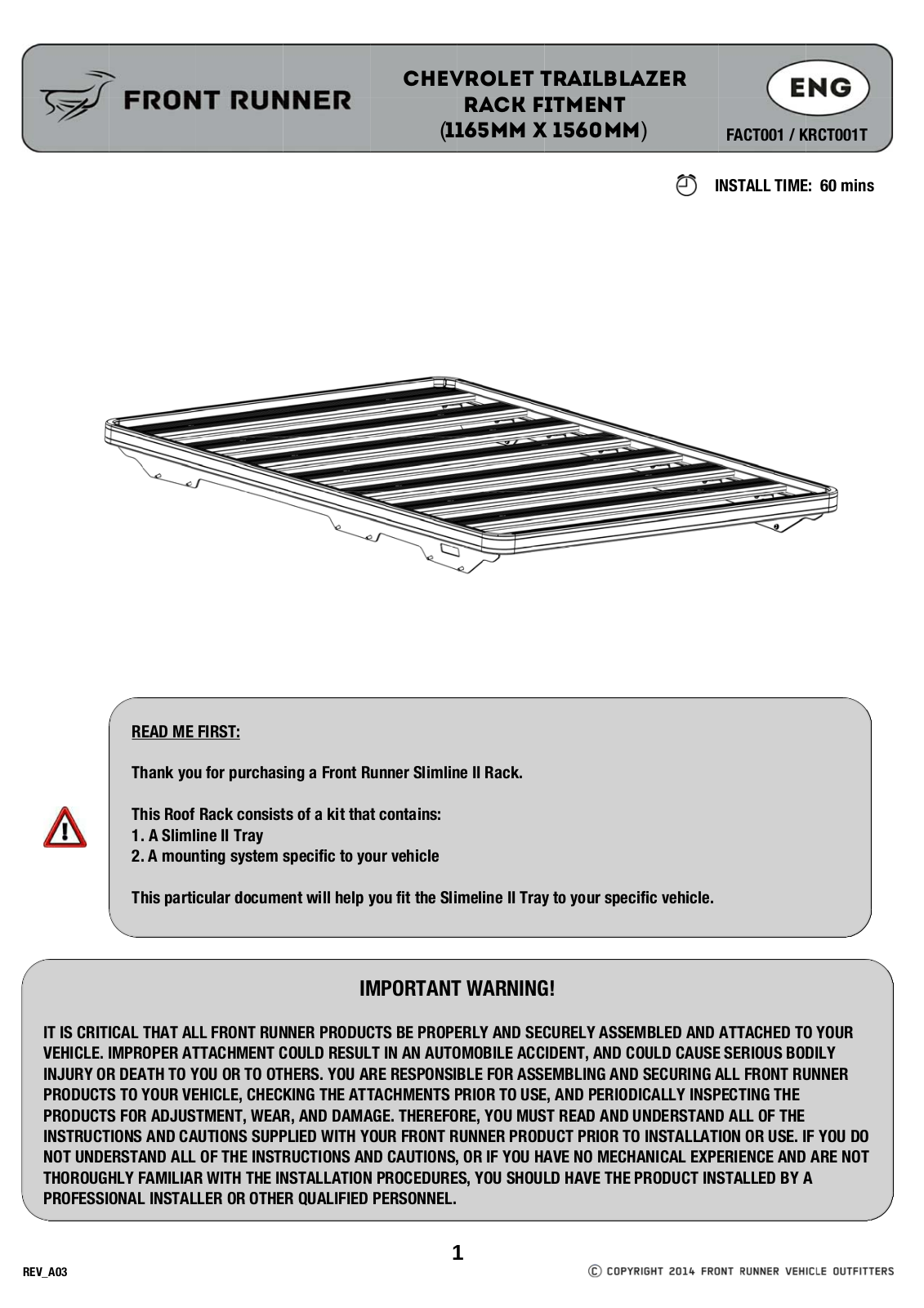 Installation instructions for FACT001