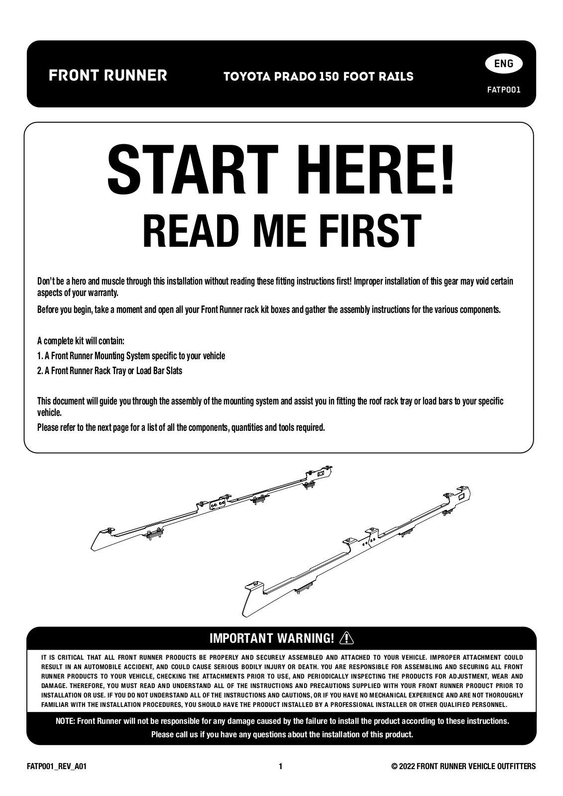Installation instructions for FATP001