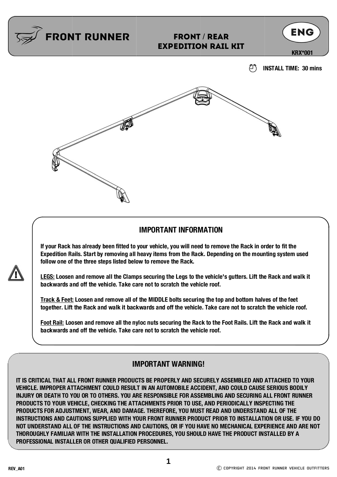 Installation instructions for KRXM002