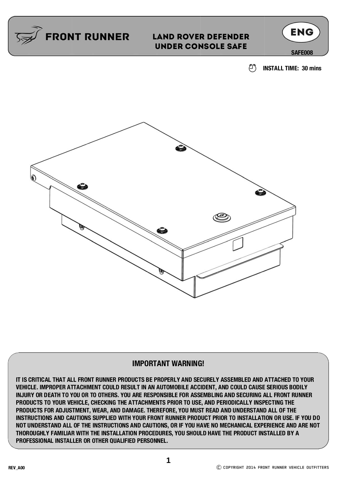 Installation instructions for SAFE008