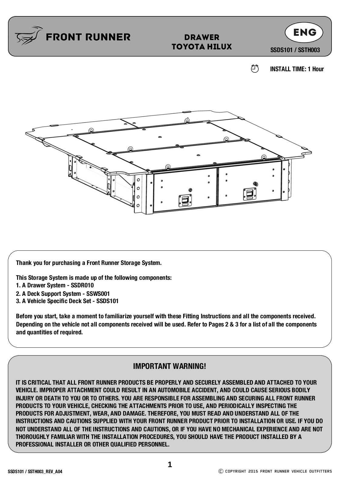 Installation instructions for SSTH003