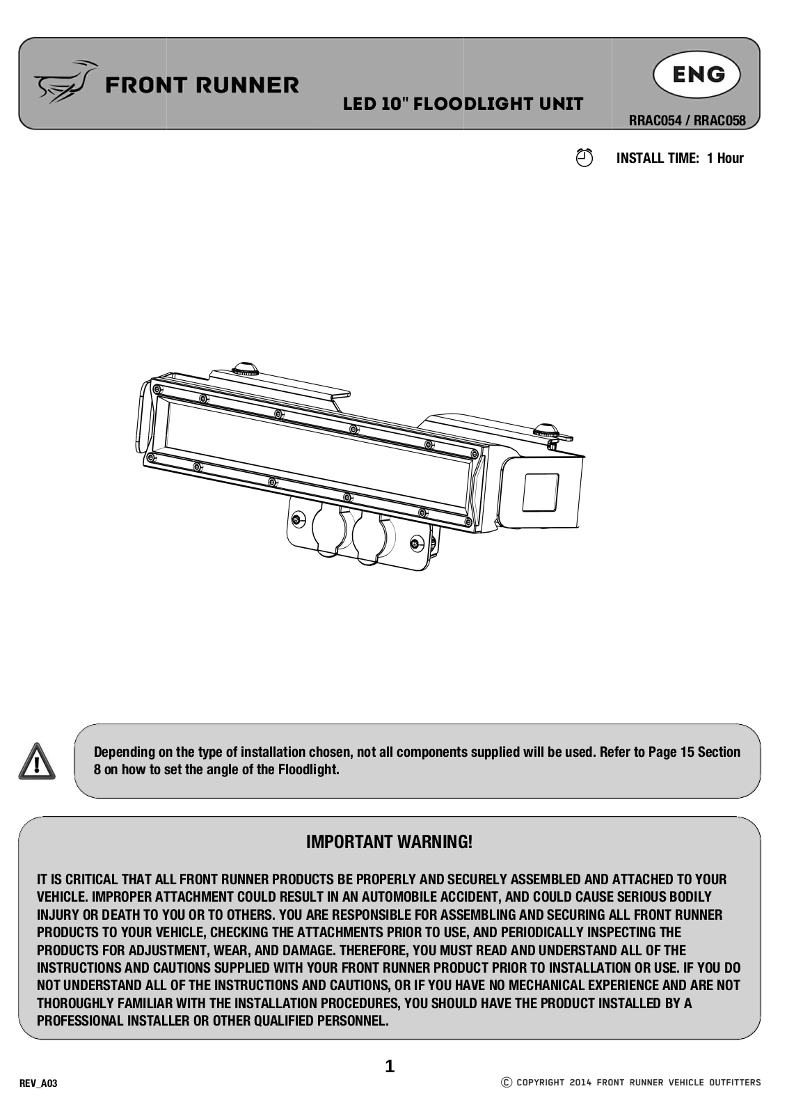 Installation instructions for RRAC054