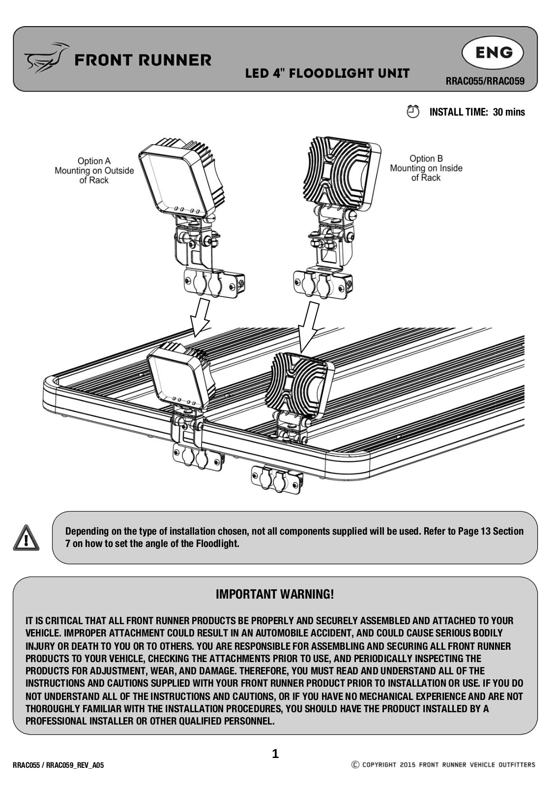 Installation instructions for RRAC055