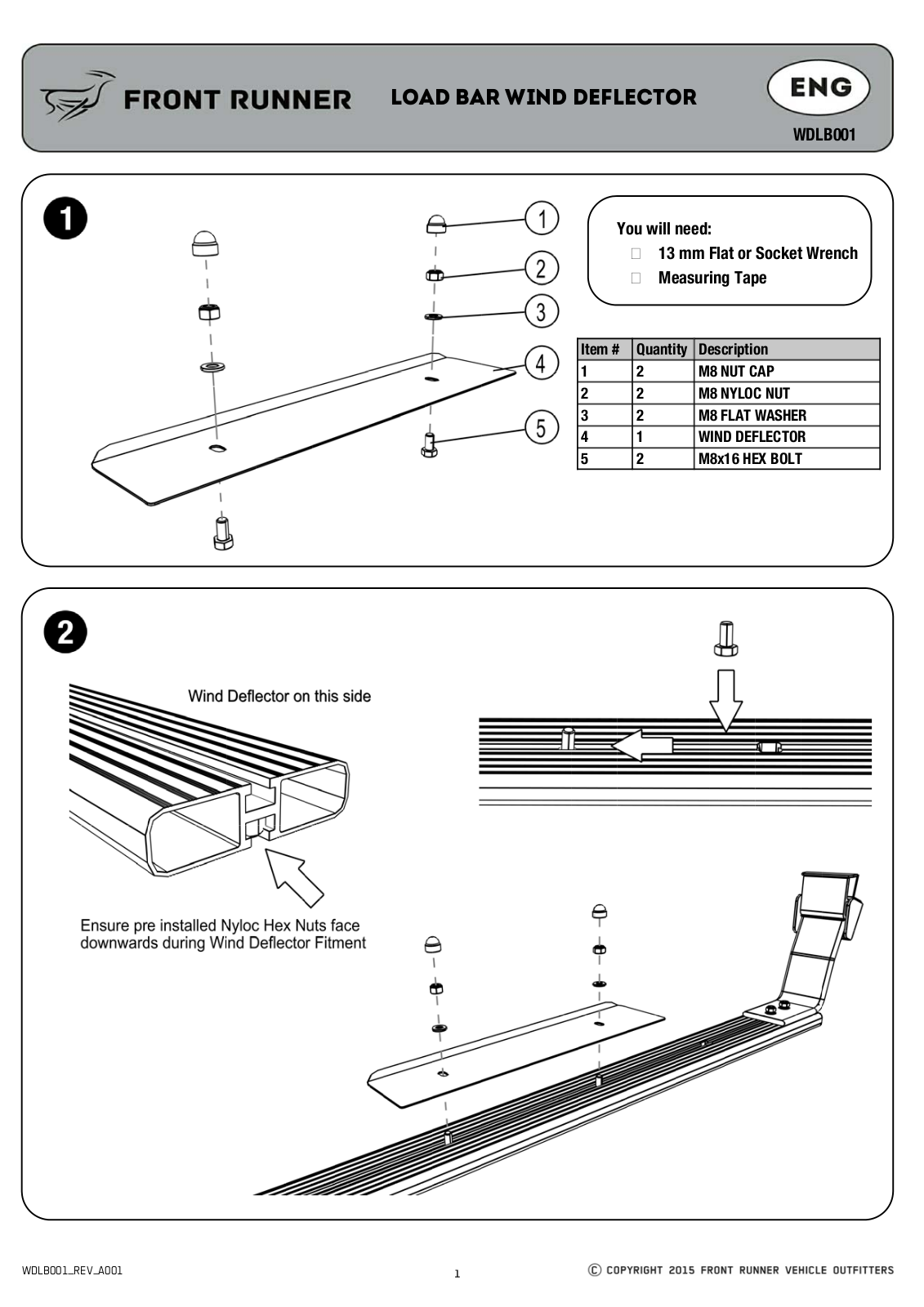 Installation instructions for WDLB001