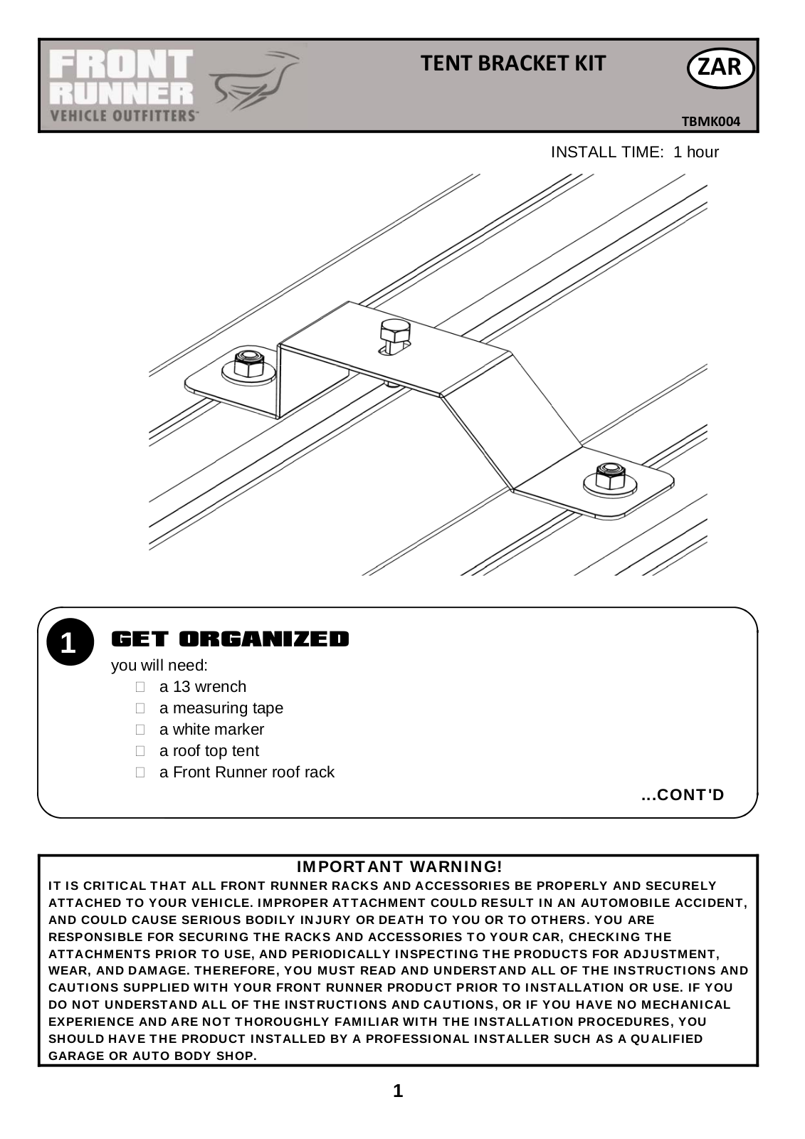 Installation instructions for TBMK004